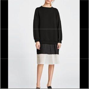 Zara Black & White +pleated skirt DRESS (M) NWT